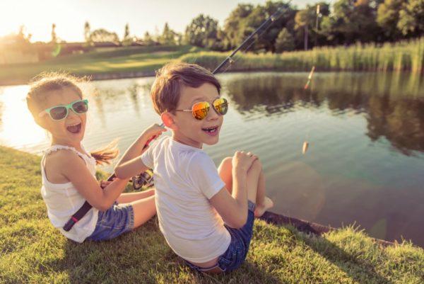 little kids fishing