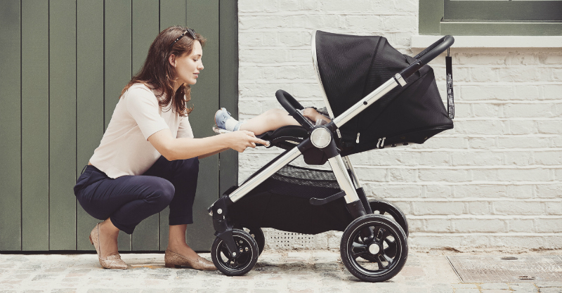 Mum and baby with Mamas and Papas Ocarro stroller