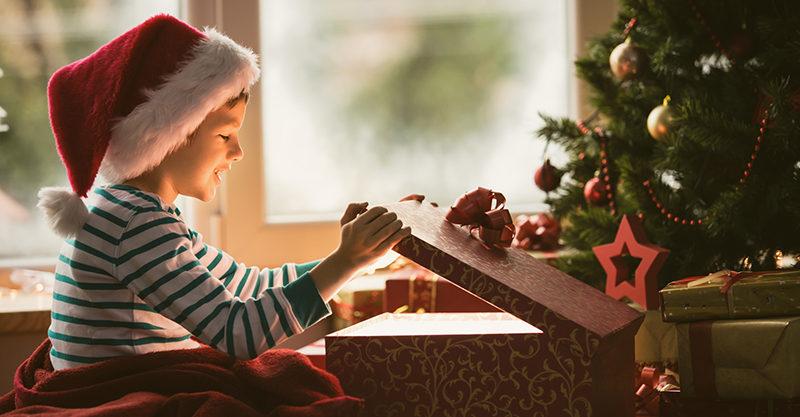 Christmas, boy, present