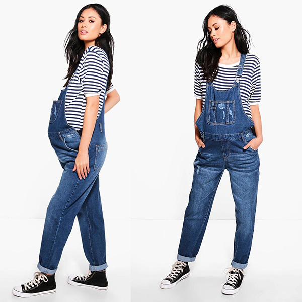 overalls, pregnant woman