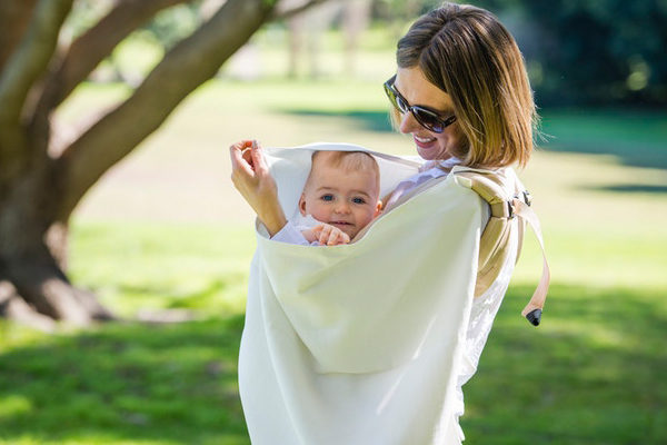woman, mother, baby, carrier, muslin, outdoors