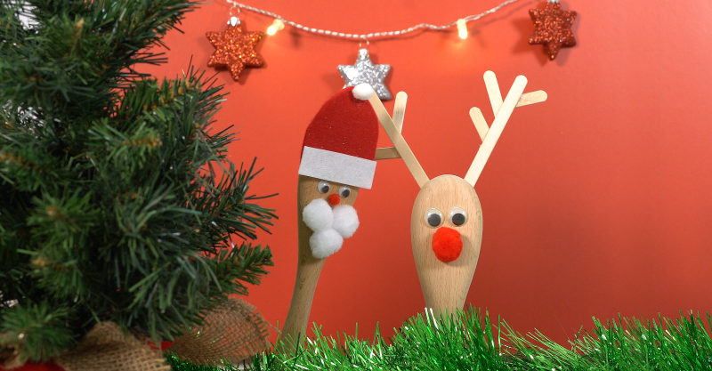 Santa and Rudolph wooden spoon Christmas craft