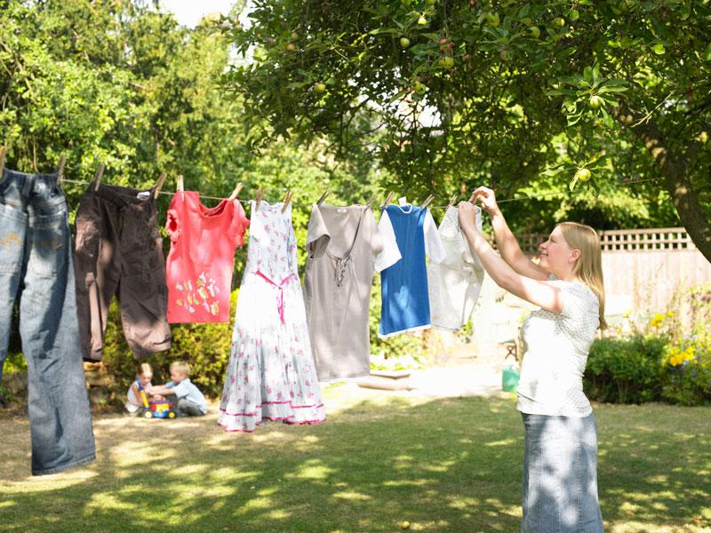 Woman clothesline