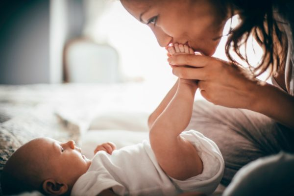 happy mum with baby