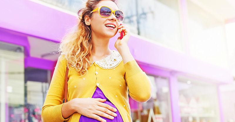 Pregnant mum on phone
