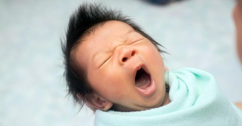 Closeup yawning baby