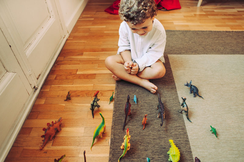 Boy with dinosaurs
