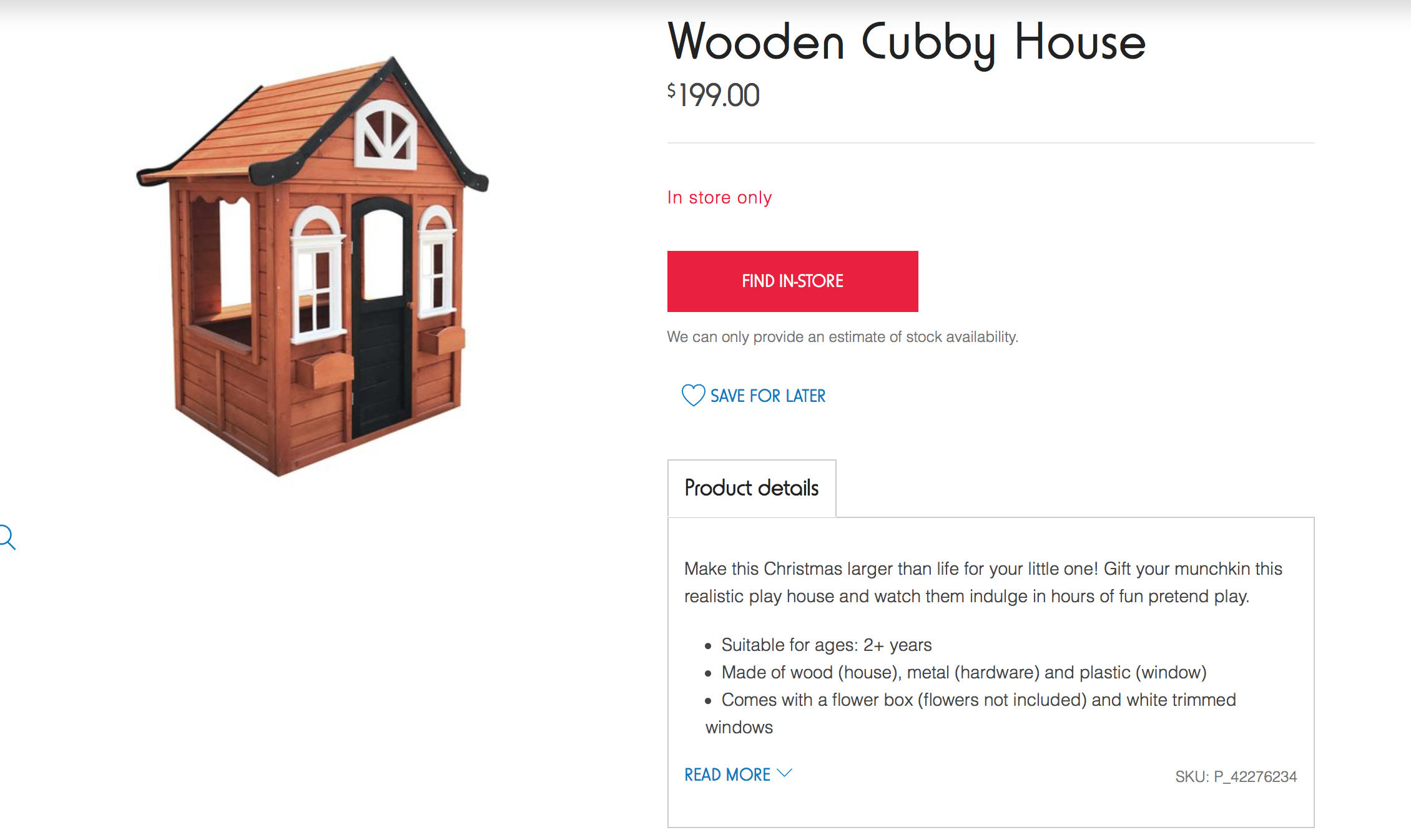Kmart wooden cubby house