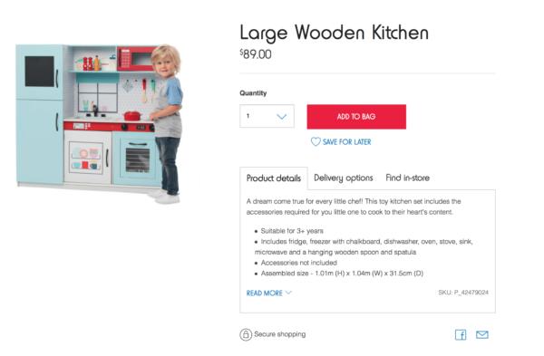 Kmart Large Wooden Kitchen