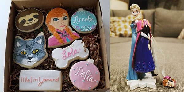 Frozen cookies and decorations