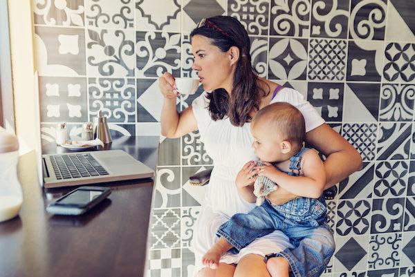 Mum and baby working