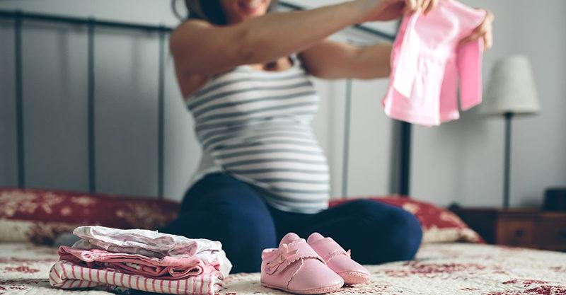 Pregnant mum packing hospital bag