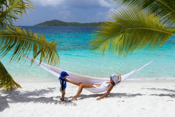 tropical family holiday hammock