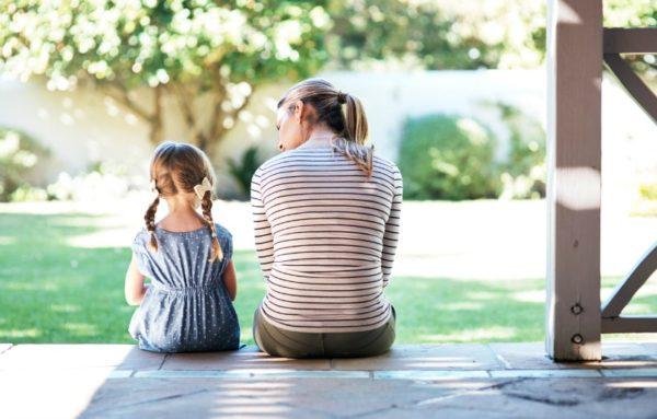 Mum comforting daughter