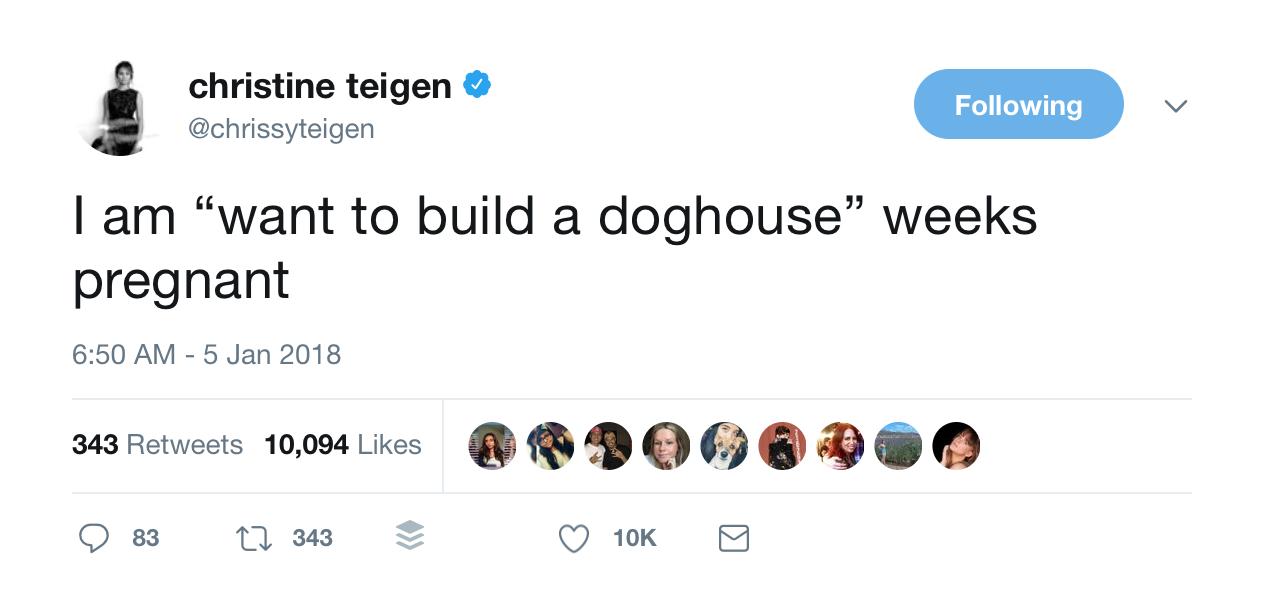 Chrissy Teigen pregnancy tweet