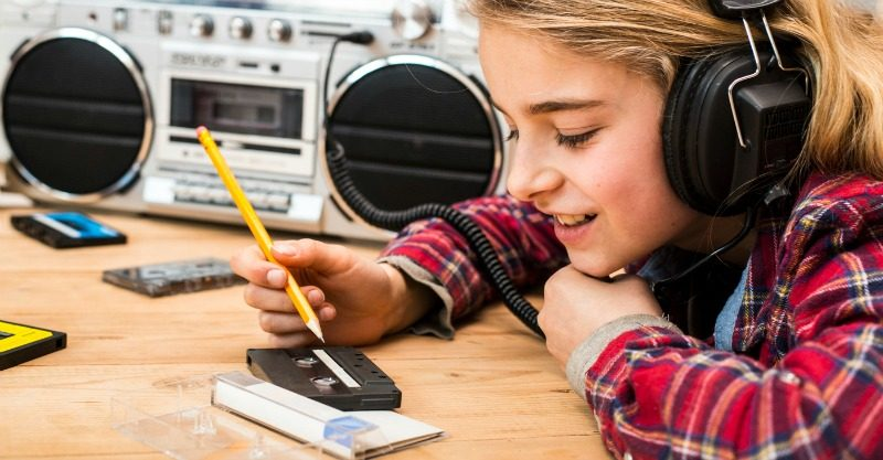 girl with boombox casettes
