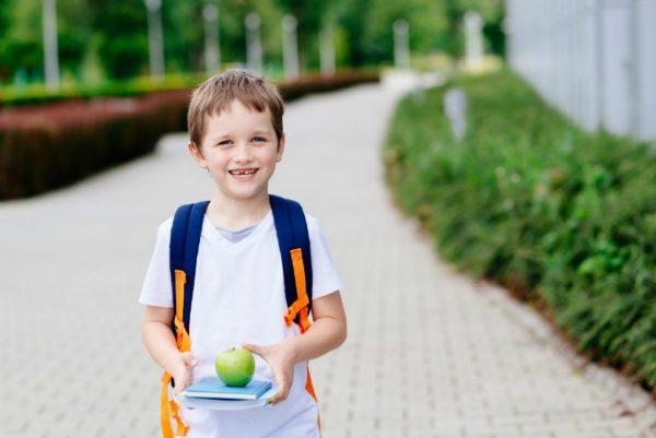 happy school boy lunch