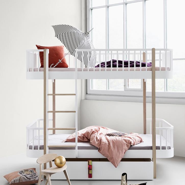 White & Oak Scandi Bunk Bed by Oliver