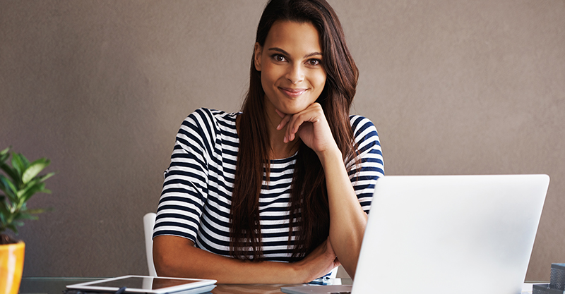Woman dark hair at computer
