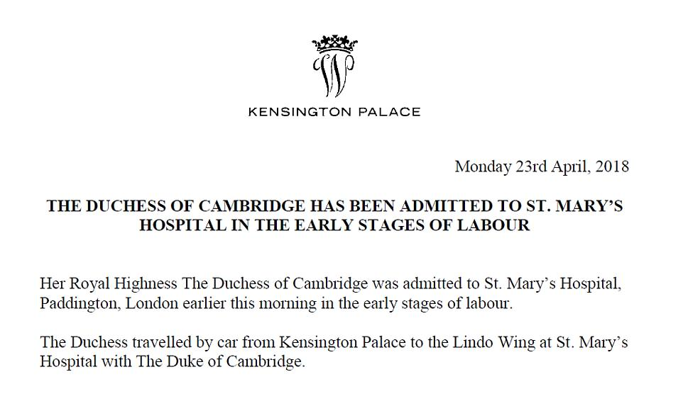 Duchess Kate is in labour