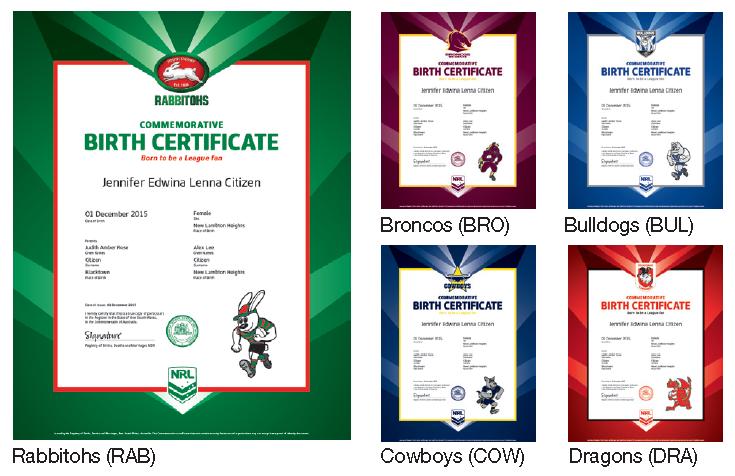 NRL birth certificates