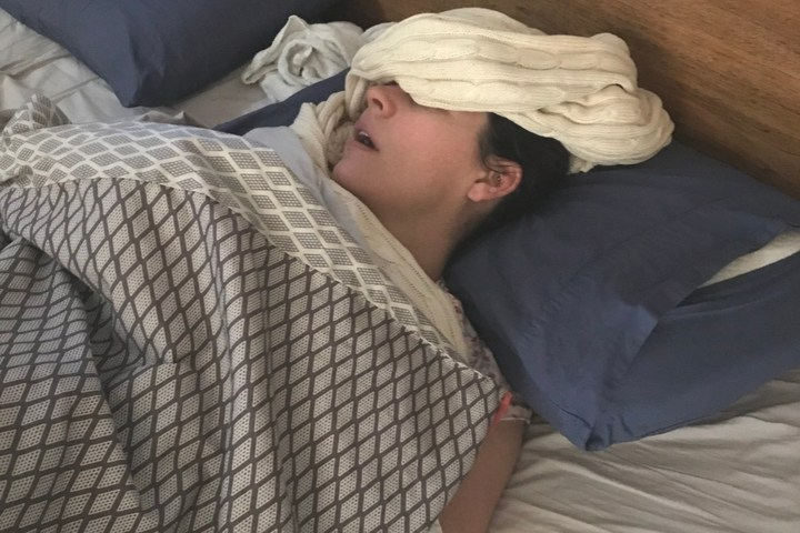 Dawn Reinets taking a nap