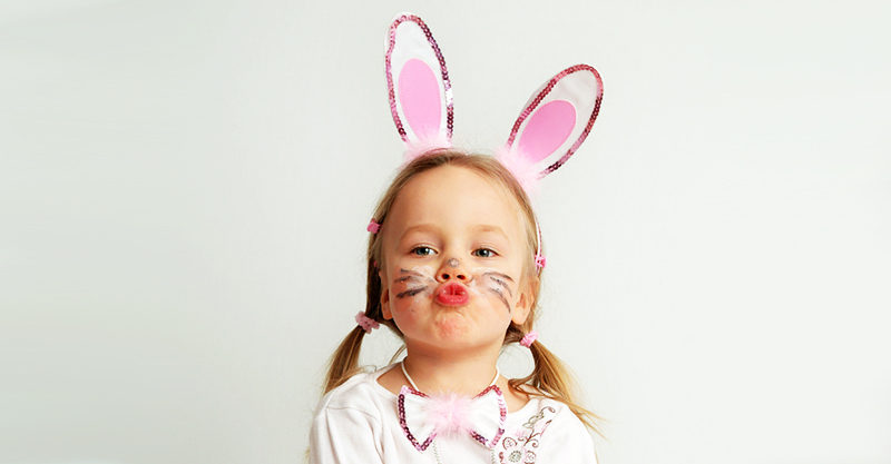 Young girl with Easter hat on