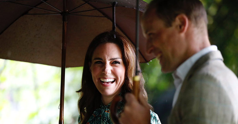 William and Kate under an umbrella