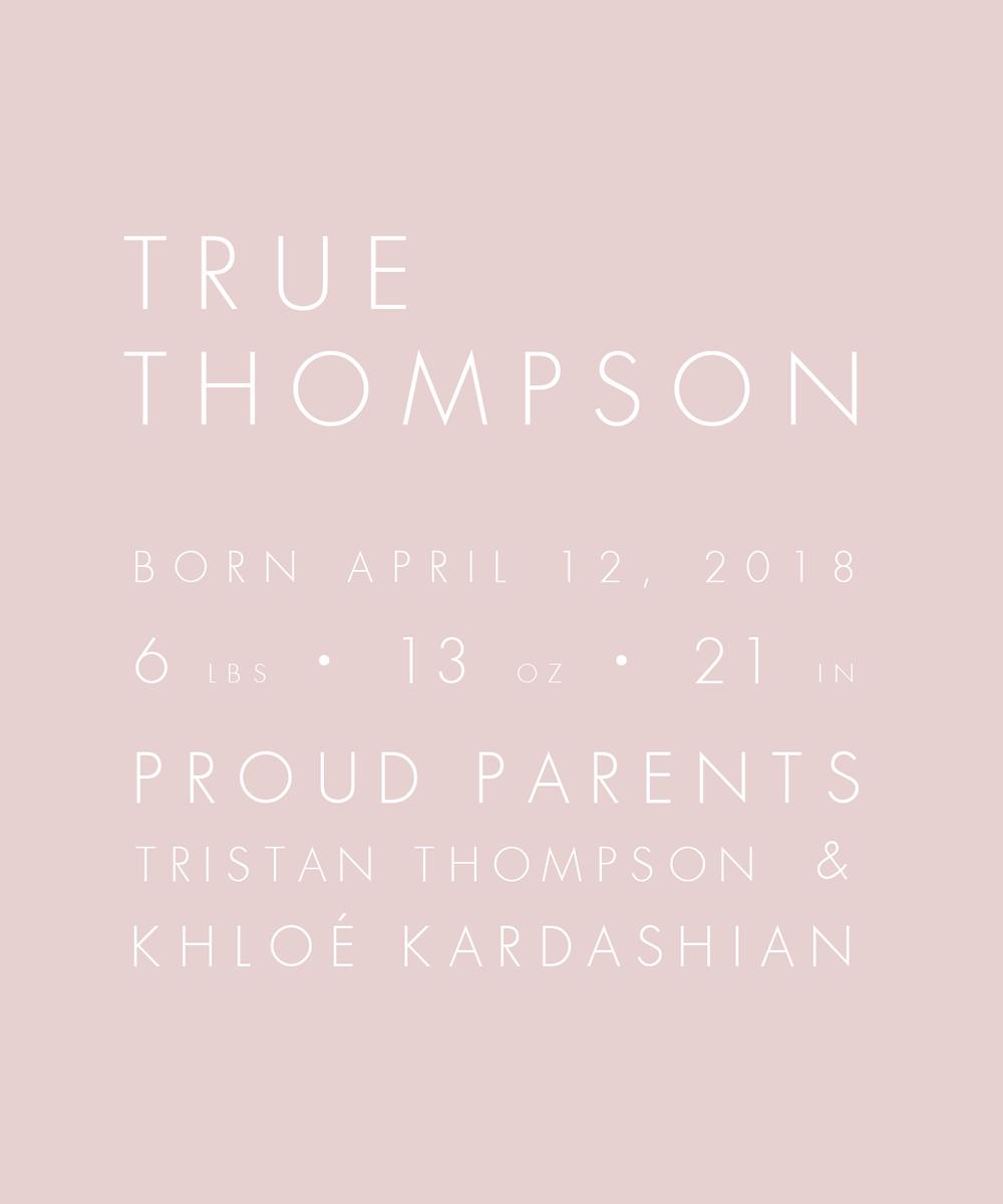 Khloe Kardashian birth announcement