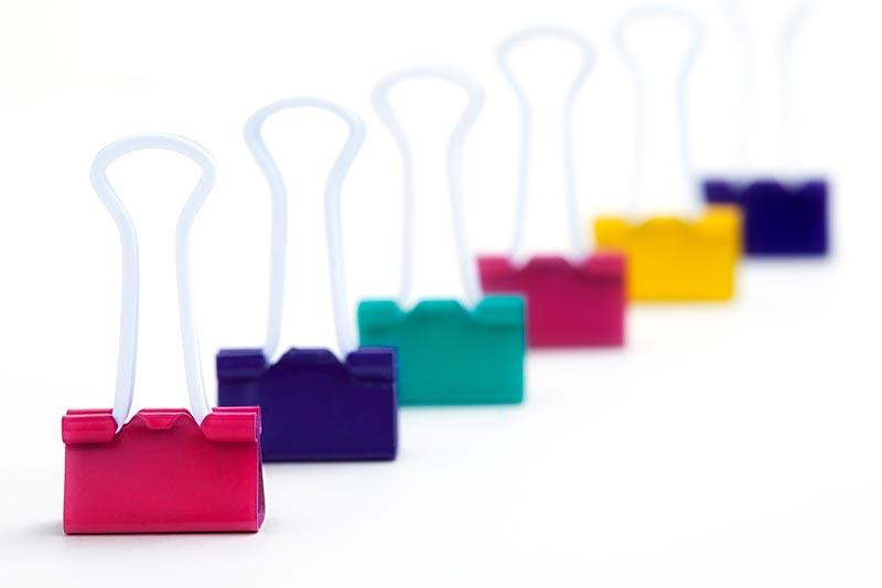 Colourful bulldog clips