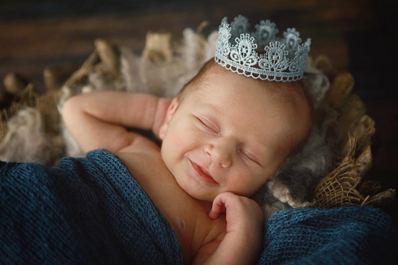 Baby wearing crown