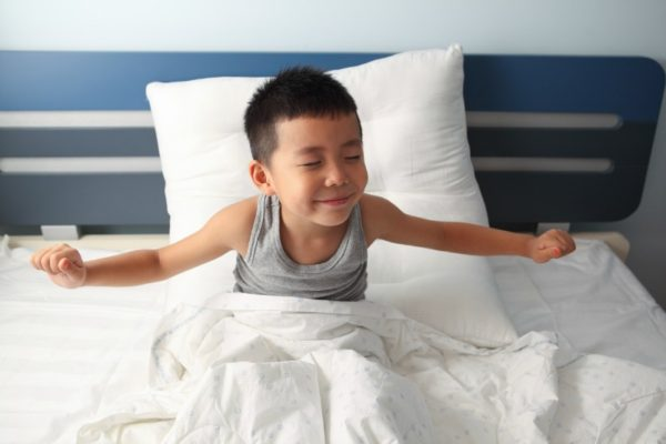 Little boy waking up