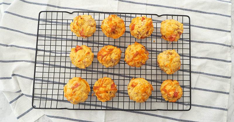 Savoury cheese, ham and tomato muffins