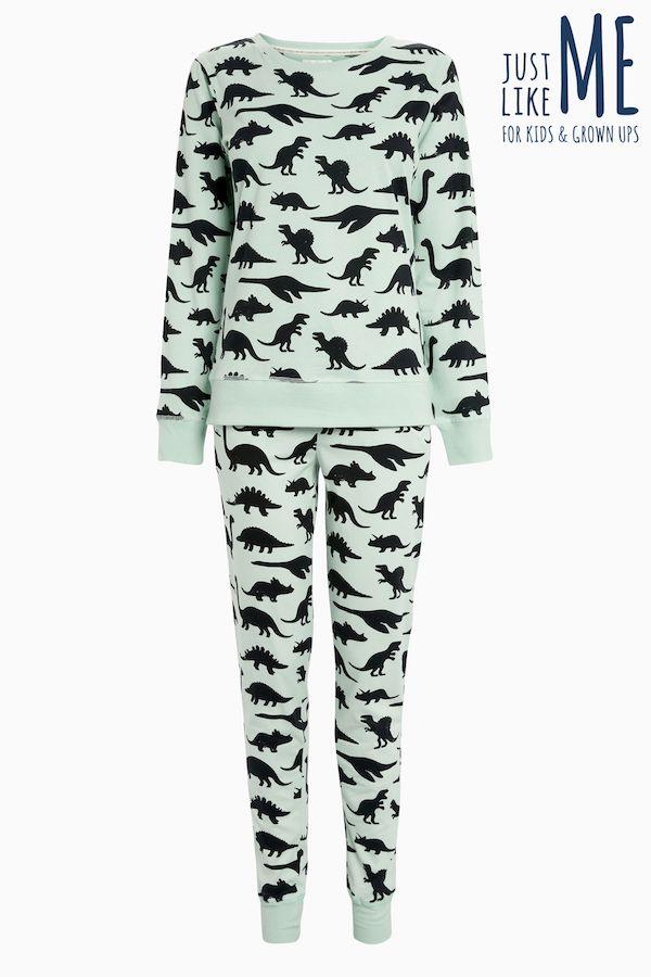 NEXT womens Mint Dinosaur Pyjamas