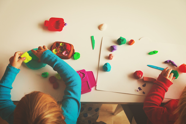 kids play with clay molding shapes, kids learning