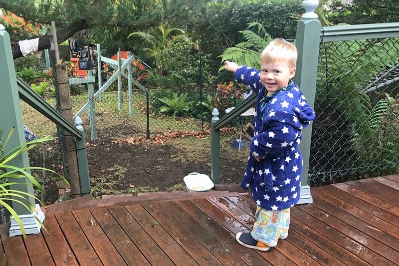 Sam pointing at digger