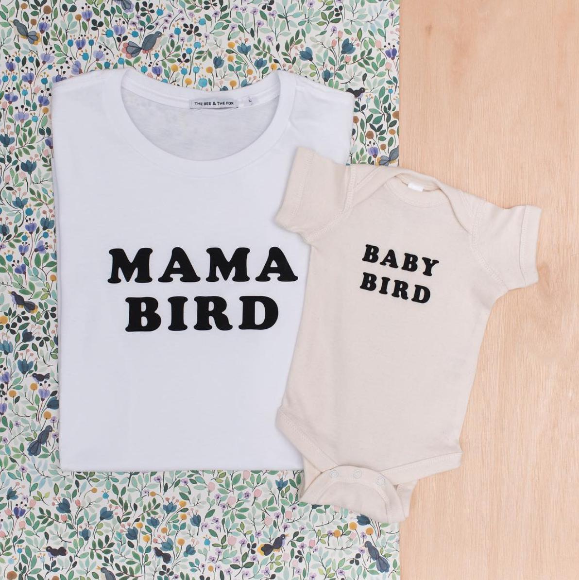Mama Bird tee and Baby Bird Onesie
