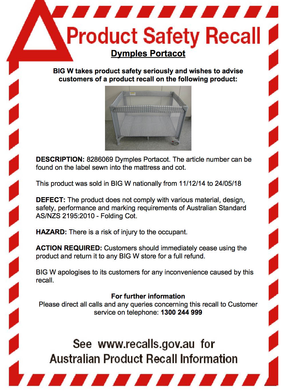 Big W Dymples cot recall