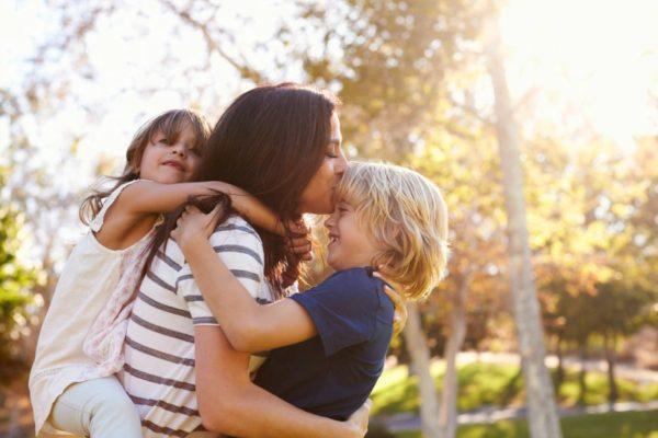 happy mum with kids