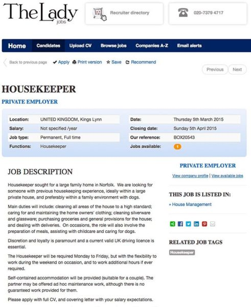 Royal family housekeeper ad