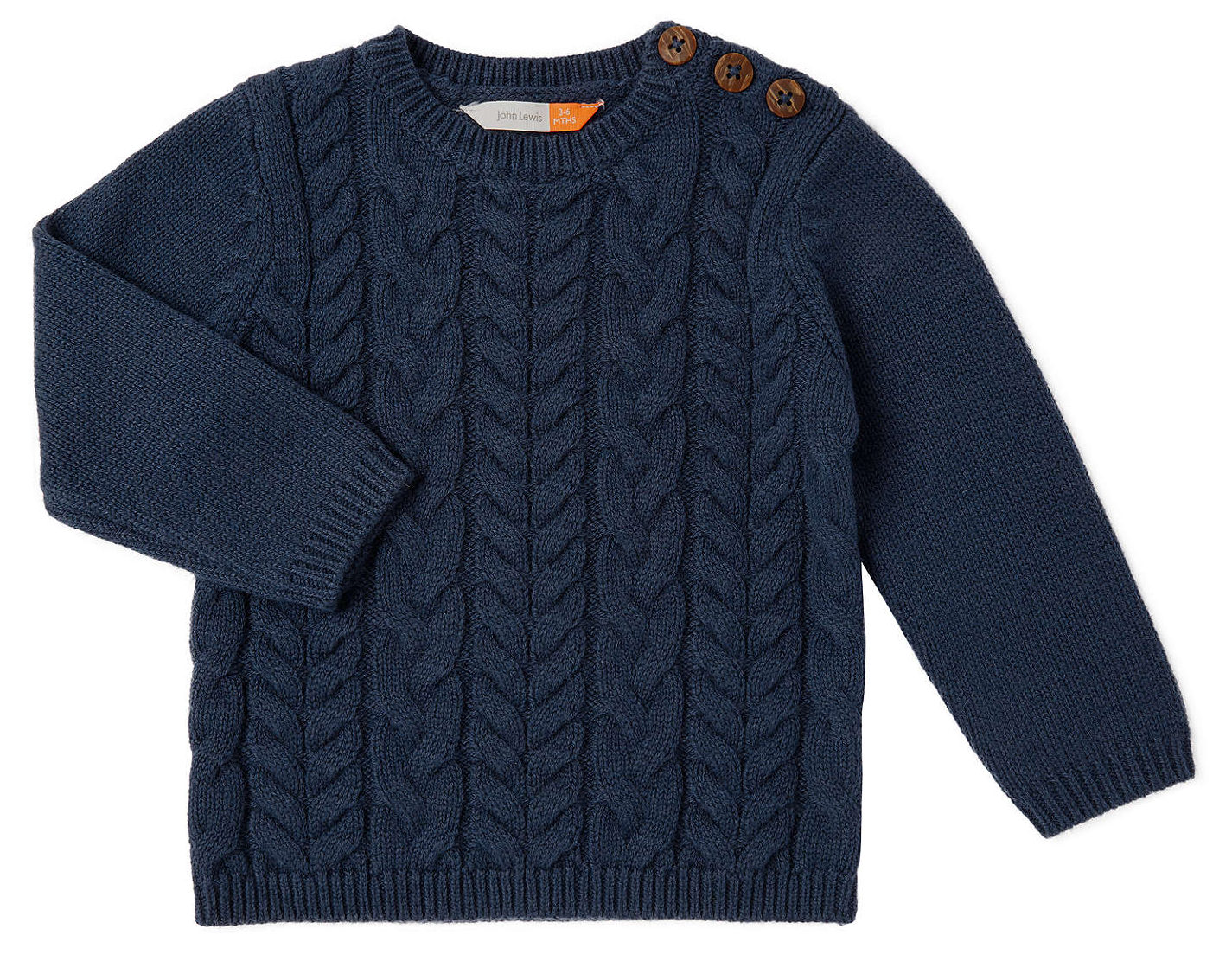 John Lewis Baby Cable Knit Crew Neck Jumper, Navy