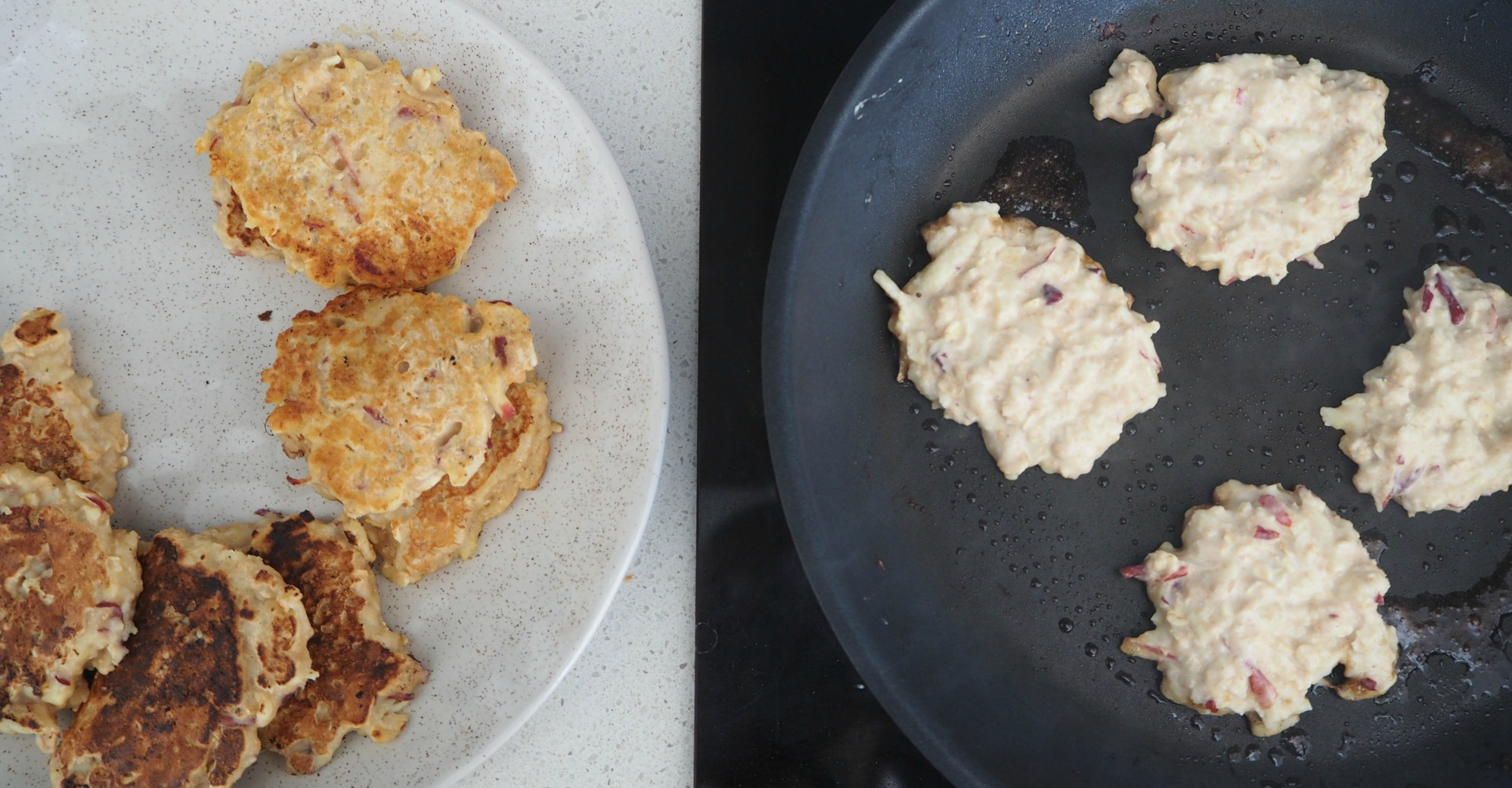 Apple Cinnamon and oat pikelets step 1