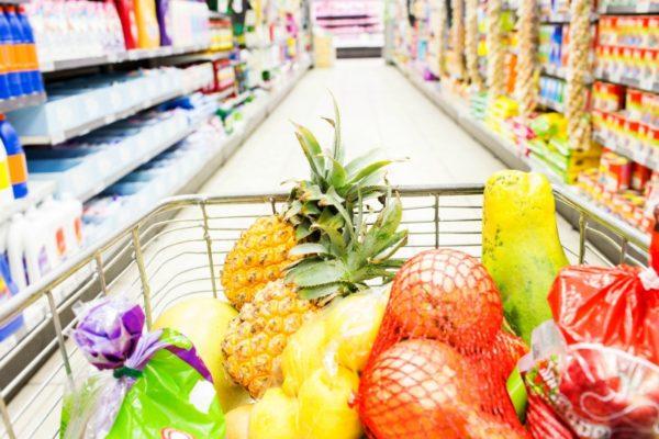 Full supermarket trolley