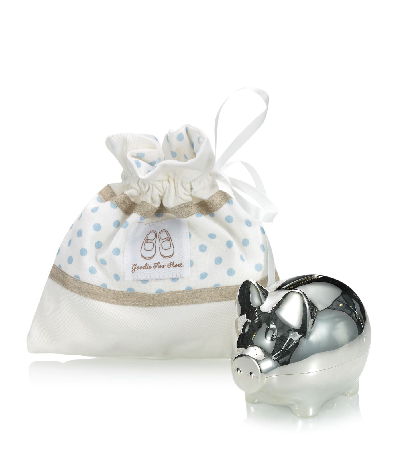 English Trousseau Silver Plated Piggy Bank (Blue)