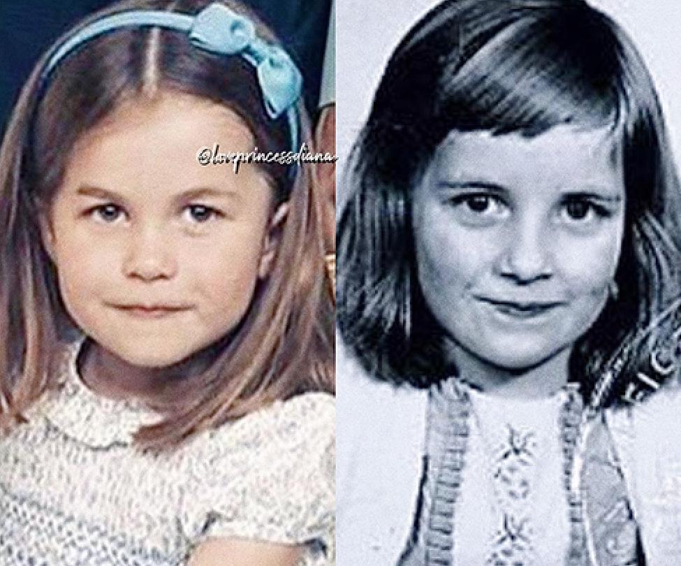 Princess Charlotte and young Princess Diana