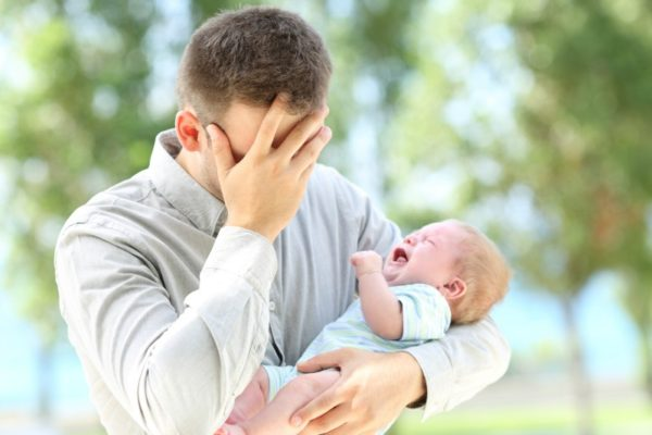 Crying baby father