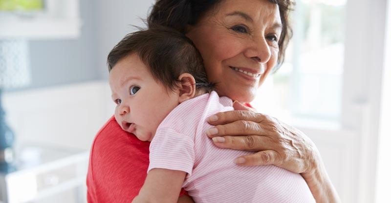 Grandma holding baby