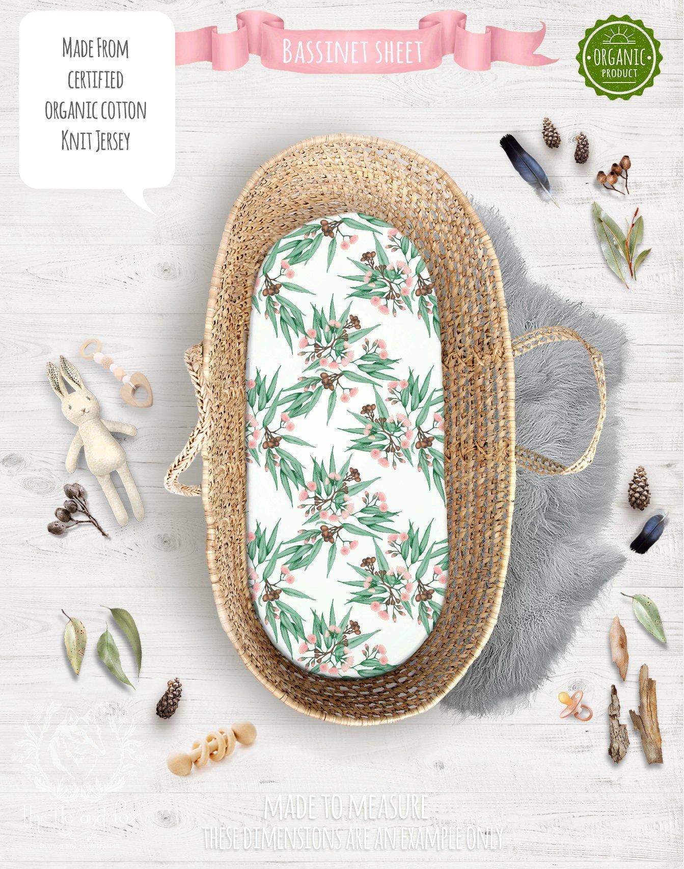 Australian Native Flora Fitted Bassinet Sheet in Soft Pink & Green