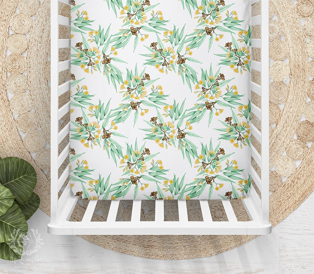 Yellow Gum Blossom Bassinet or Cot Sheet