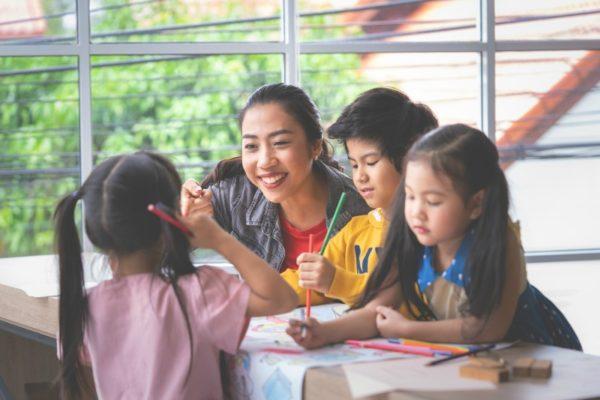 Kids at preschool with teacher